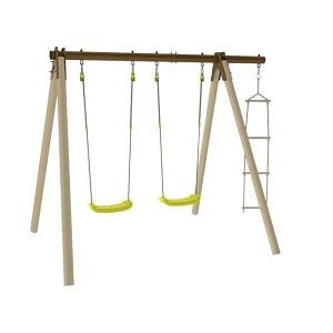 Les deux balançoires de ce portique en bois accompagneront les rires de votre enfant