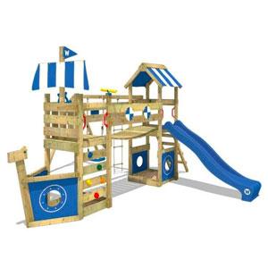 aire de jeux en bois pour enfants avec balançoires et toboggan Wickey Stormflyer 2 Agrès
