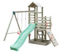 aire de jeux en bois pour enfants avec balançoires et toboggan