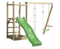 aire de jeux pour enfants en bois avec toboggan